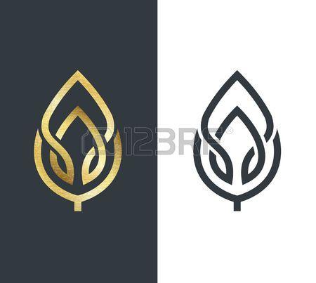 vector royalty free stock Vector emblem leaf. Logo golden shape and