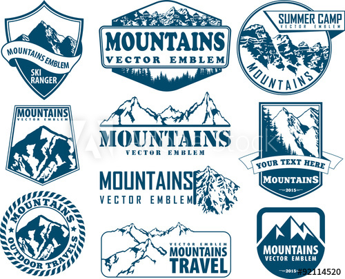 image royalty free download Vector emblem mountain. Logo set with type