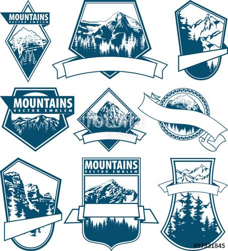 vector Logo set with type. Vector emblem mountain