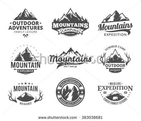 svg royalty free download Set of and outdoor. Vector emblem mountain