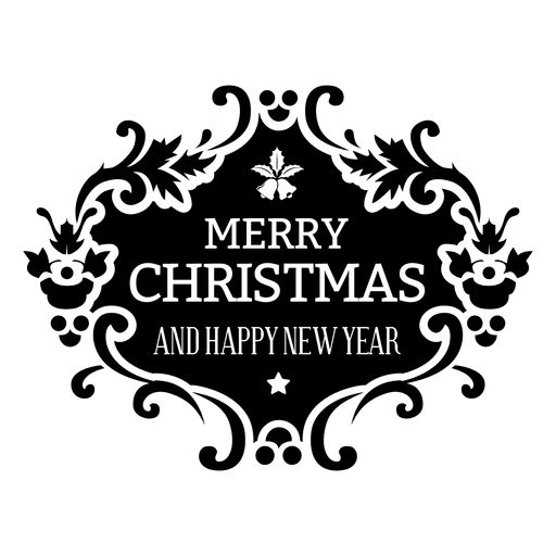 clipart freeuse stock Merry christmas floral badge