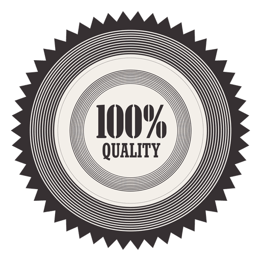 vector black and white Starry percent badge transparent. Vector emblem quality