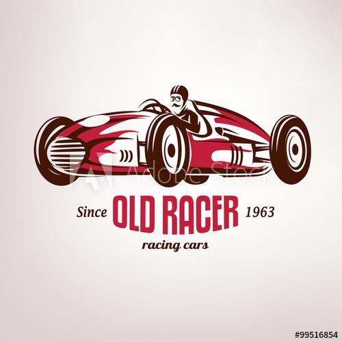 picture free stock Retro race car vintage. Vector emblem racing