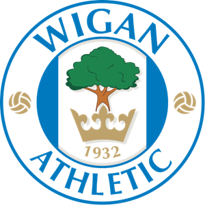 picture black and white stock Wigan athletic logo eps. Vector emblem sport badge