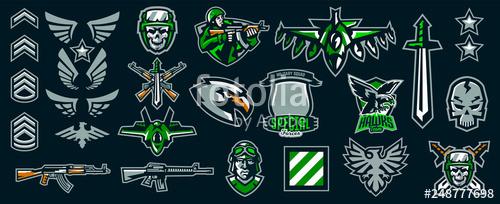 picture freeuse download Vector emblem stripes. Set of military emblems