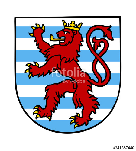 image freeuse Vector emblem stripes. Luxembourg national red lion