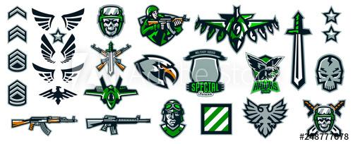picture freeuse download Set of military emblems. Vector emblem stripes