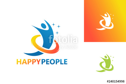 clip art black and white Vector emblem symbol. Happy people logo template