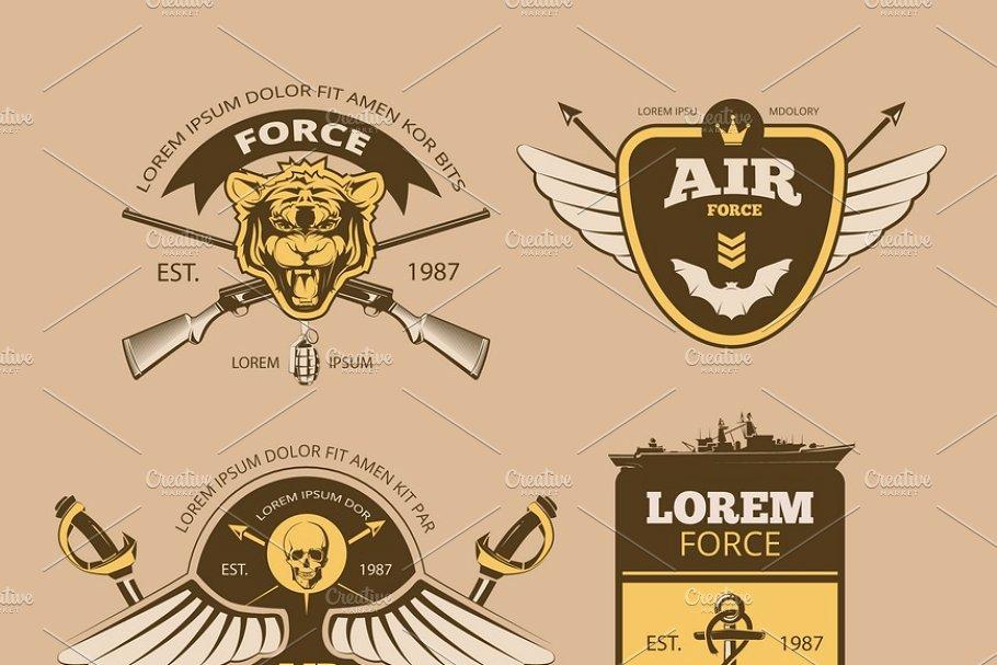 jpg free download Desert logos . Vector emblem vintage military