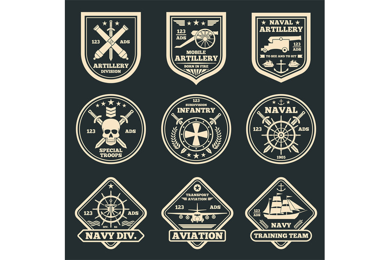 free library And army emblems badges. Vector emblem vintage military