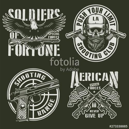 graphic black and white Emblems set stock image. Vector emblem vintage military