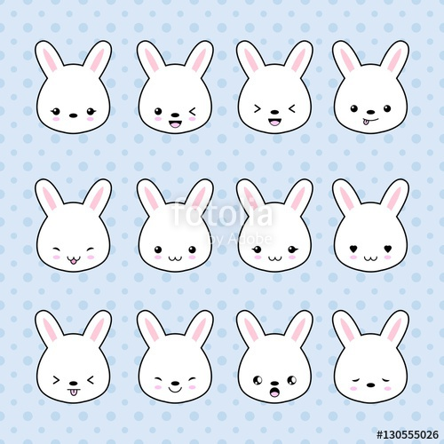 clip black and white library Set of cartoon stickers. Vector emojis bunny