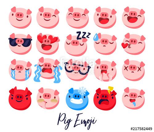 graphic library library Vector emojis calendar. Pig emoji emoticon year