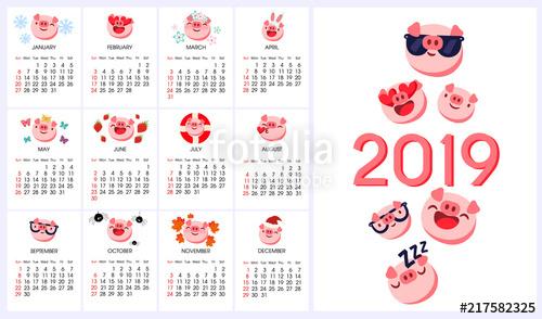 graphic library library Pig emoji emoticon year. Vector emojis calendar