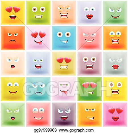 clip freeuse download Art set of square. Vector emojis colored