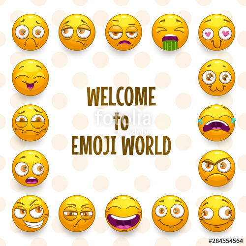 royalty free library Emoji frame funny background. Vector emojis comic