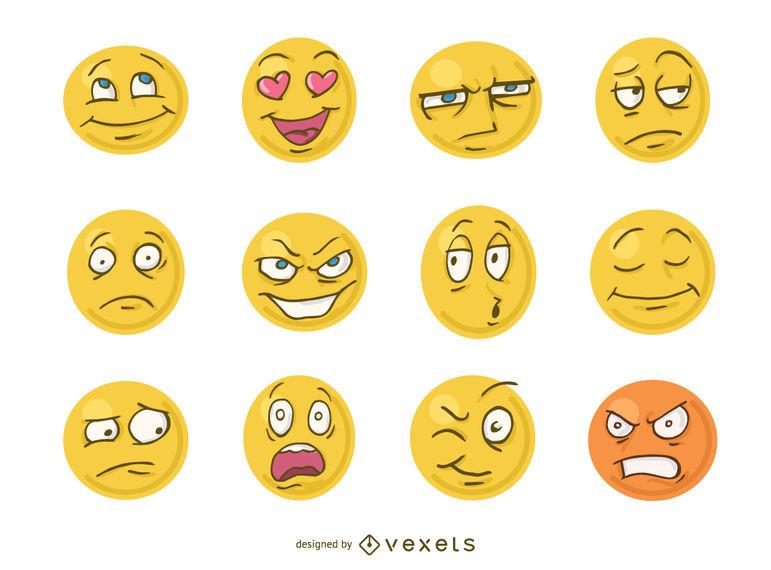 vector library stock Vector emojis comic. Funny cartoon faces emoji