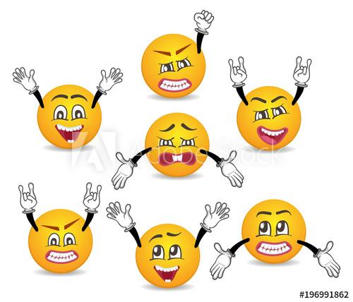 image library Vector emojis comic. Cartoon cute emoticons with