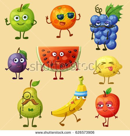 picture download Vector emojis fruit. Funny characters isolated on