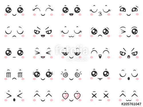 png free download Vector emojis kawaii. Cute doodle emoticons with