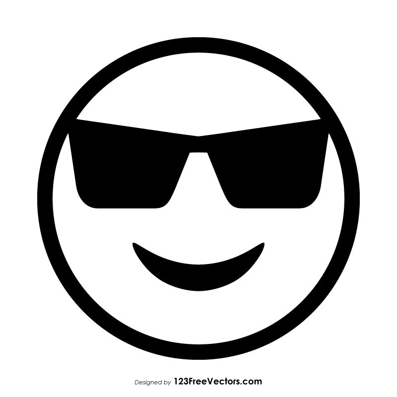 graphic black and white download Vector emojis outline. Smiling face with sunglasses