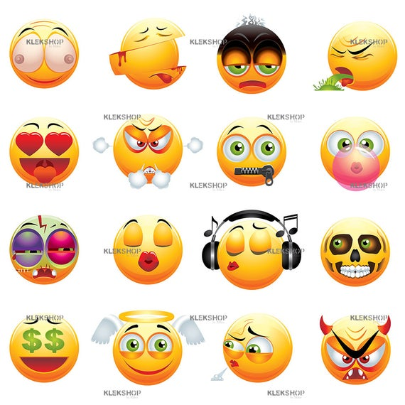 banner freeuse library Funny emoji yellow collection. Vector emojis pdf