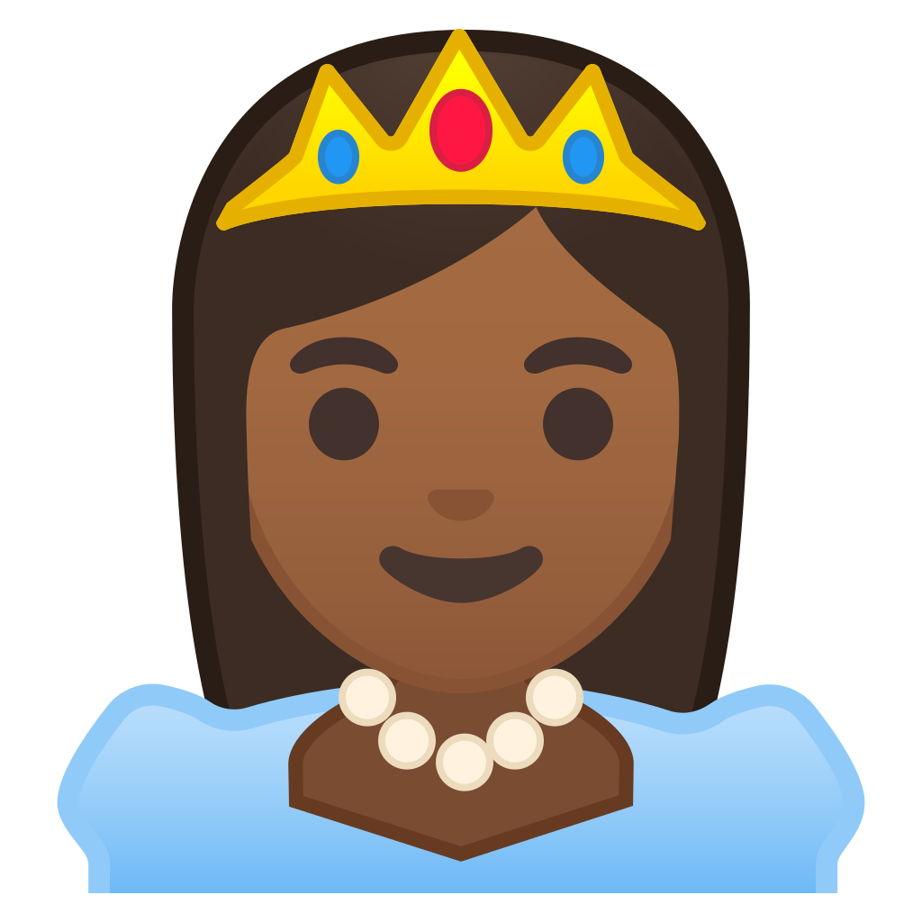 jpg free library Vector emojis princess. Medium dark skin tone