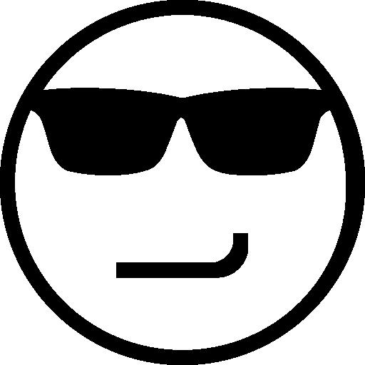 svg freeuse Smirking emoticon face with. Vector emojis sunglasses
