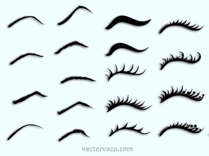 freeuse download Vector eyebrows. And eyelashes free vectors