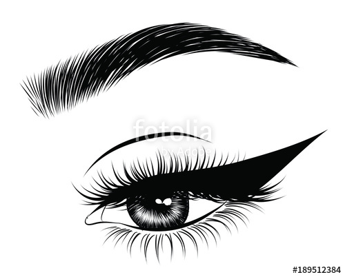 vector black and white library Hand drawn woman s. Vector eyebrows