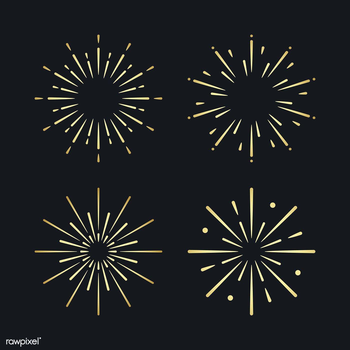 banner black and white Set of firework explosion vectors