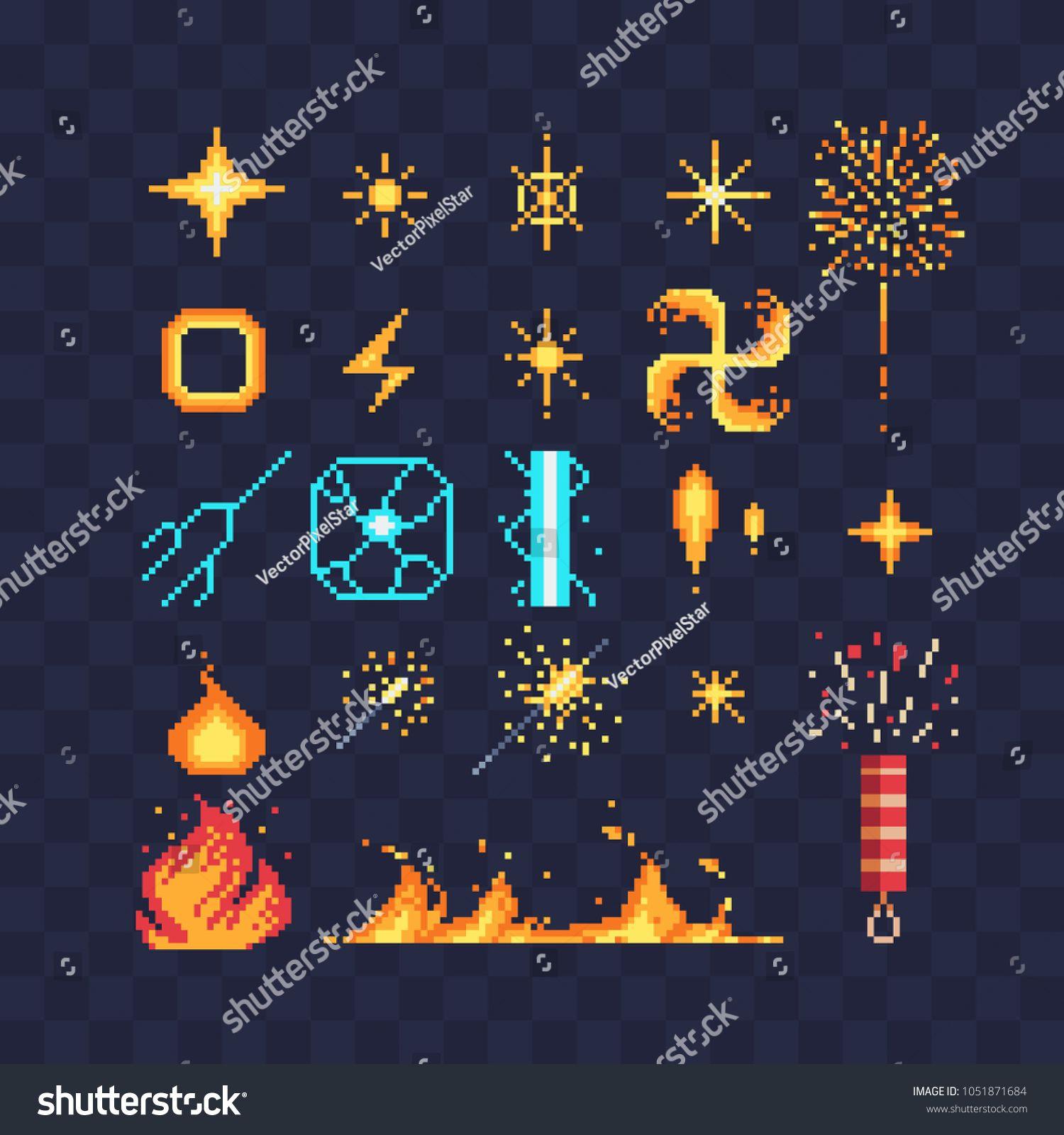 jpg freeuse stock Fx light effects energy symbols pixel art icons