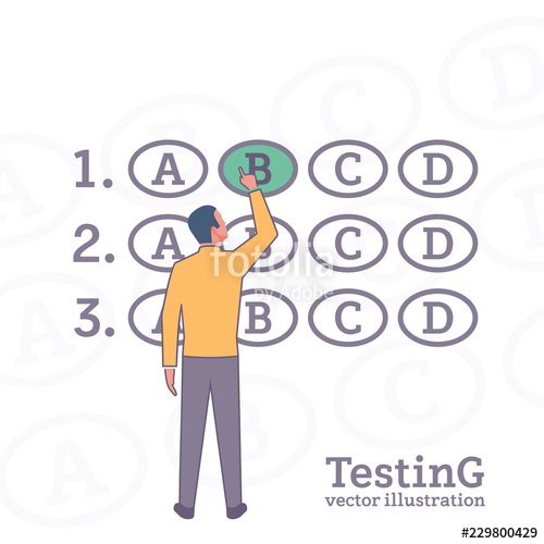 banner download Vector forms checklist. Man on testing illustration