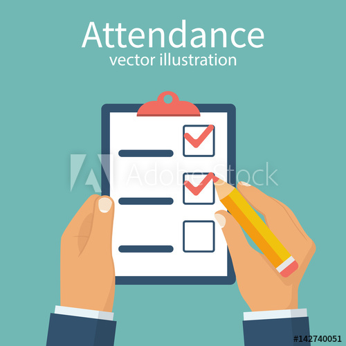 picture Attendance concept businessman holding. Vector forms checklist
