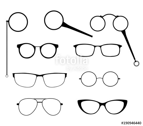 image transparent library Glasses silhouette vector set