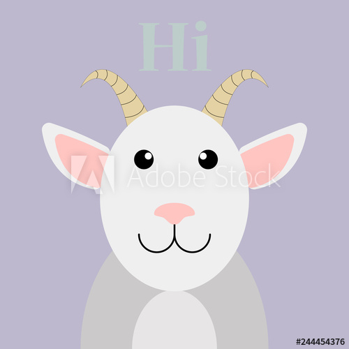image black and white Trendy flat vector Goat icon on purple background