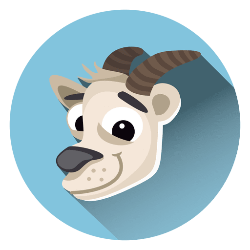 vector black and white library Goat cartoon circle icon