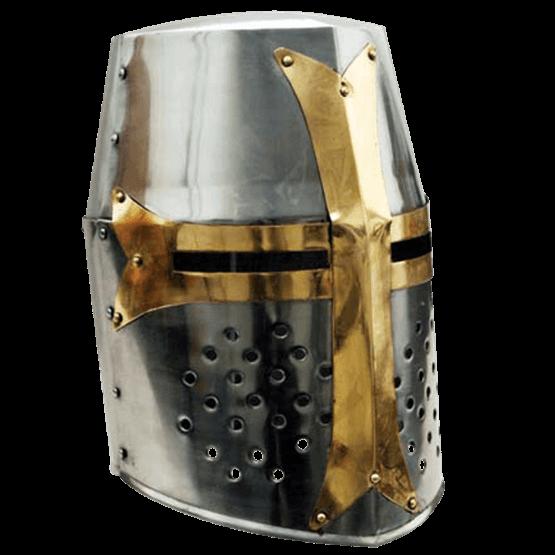 banner black and white stock Crusader Great Helmet