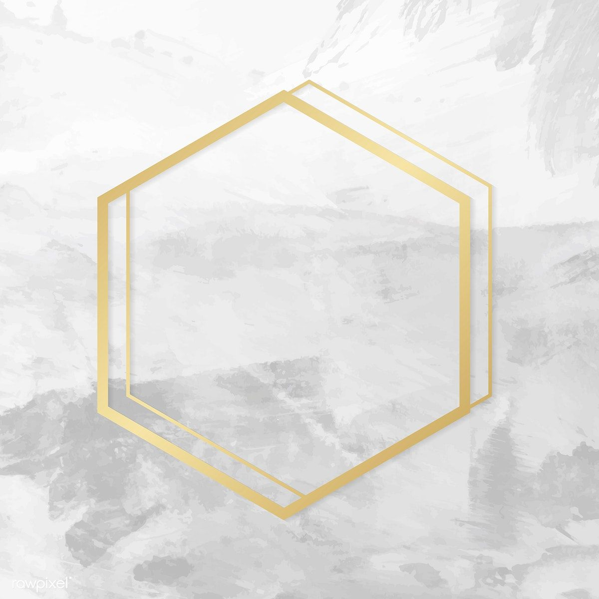 banner freeuse stock Gold hexagon frame on a gray concrete textured background