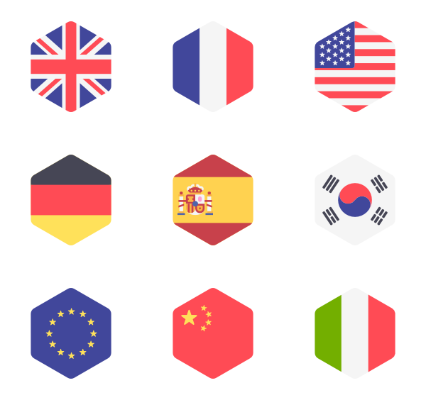 banner freeuse Icons free international flags. Vector buttons hexagon