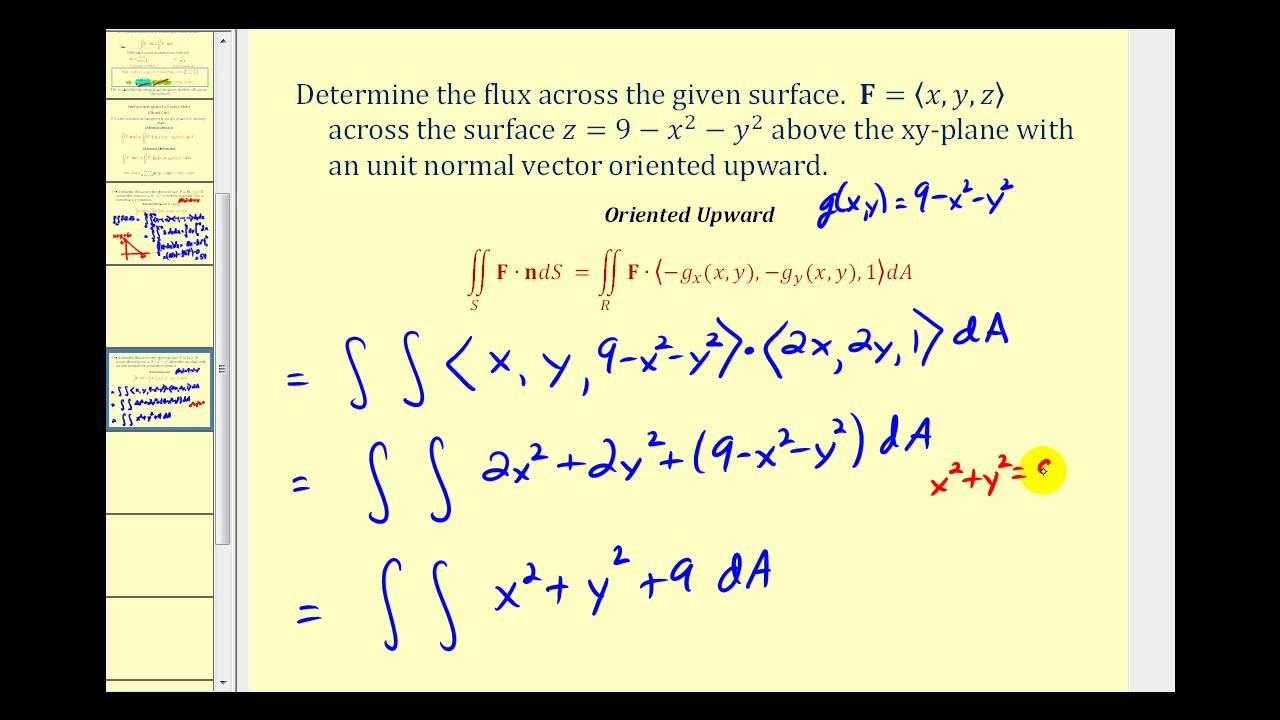 image free Of a field part. Vector calc surface integral