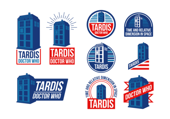 clipart transparent Vector labels. Police box tardis time