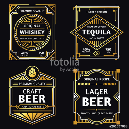 graphic stock Vector labels craft. Vintage alcohol label art