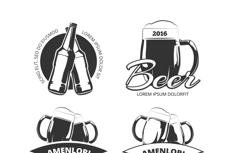 clip library library Vintage beer brewery emblems. Vector labels craft
