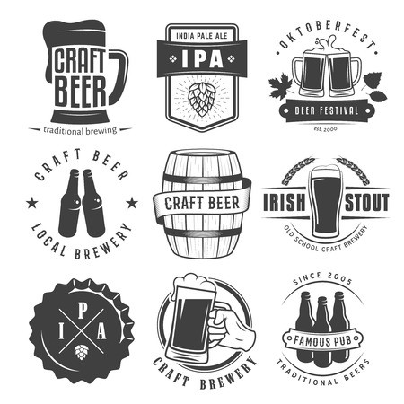 graphic free download Beer badges set of. Vector labels craft