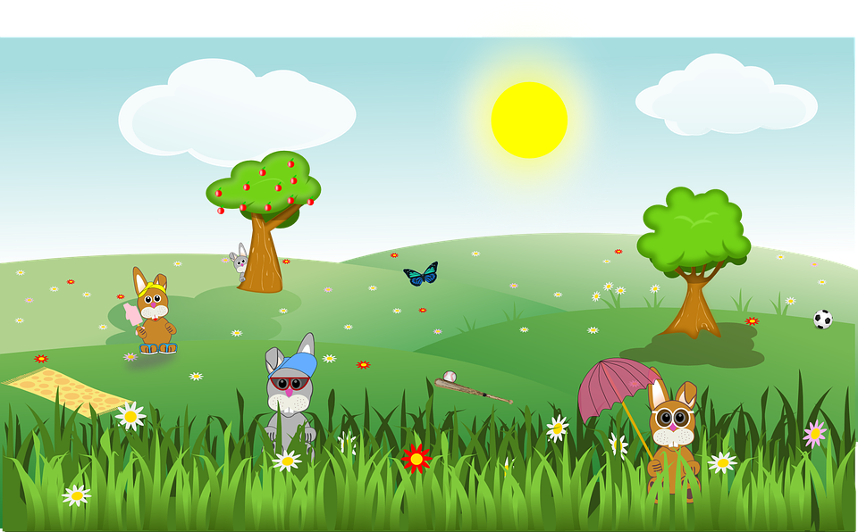 free Vector landscapes. Cute bunnies illustration google