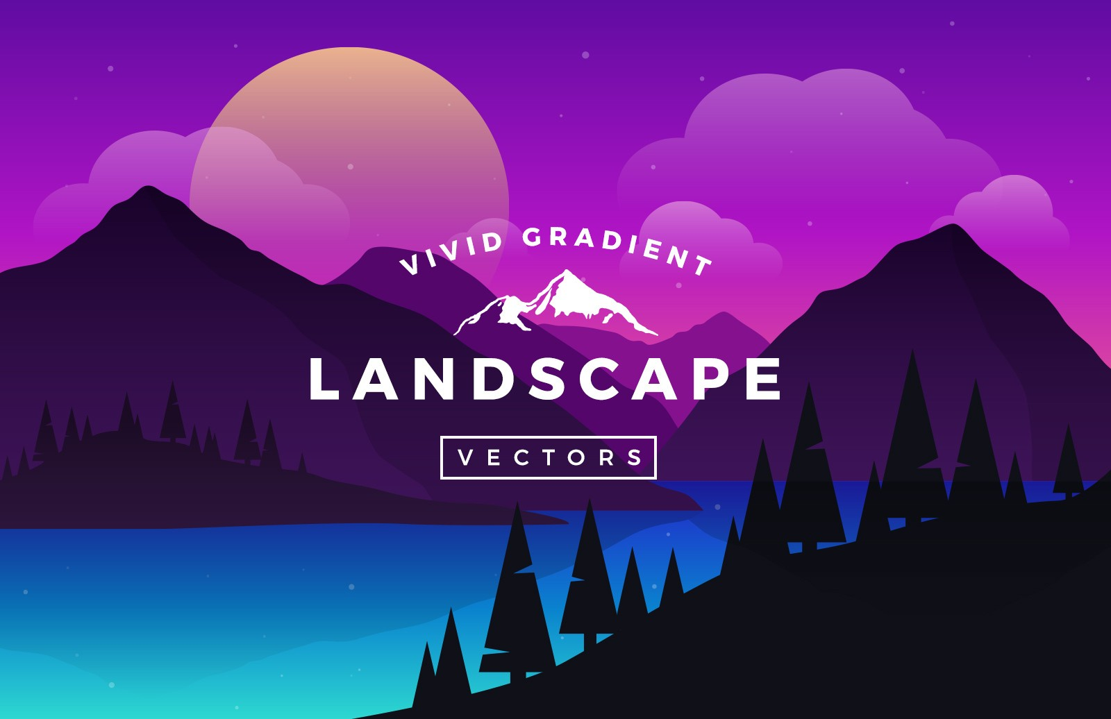 graphic royalty free Vector landscapes. Vivid gradient