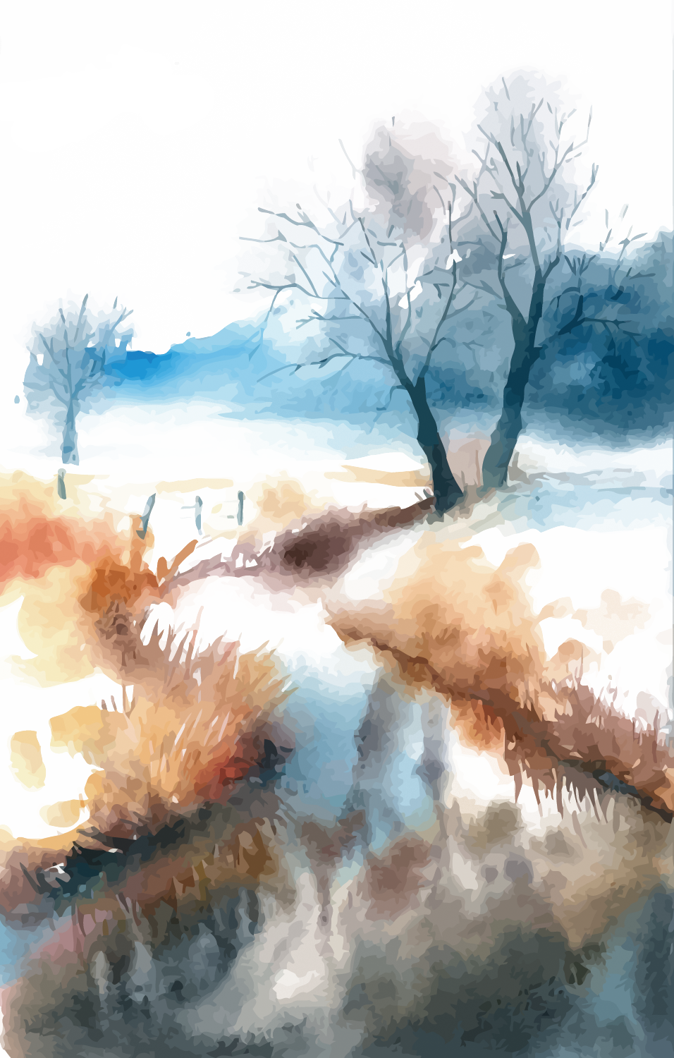 graphic free Watercolor painting Landscape
