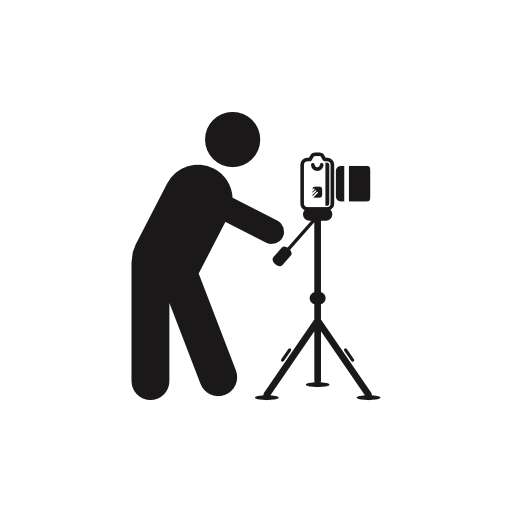 svg freeuse stock Photographer standing behind photo camera on a tripod from side view