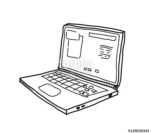 freeuse Drawing laptops illustration. Laptop computer doodle a